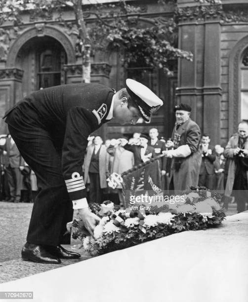 Prince Albert of Belgium later King Albert II of Belgium lays a wreath at the Cenotaph London 21st June 1964 The Prince is in London as a guest of...