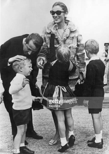 Prince Albert of Belgium later King Albert II of Belgium Princess Paola of Belgium are met by their children Prince Laurent of Belgium Princess...