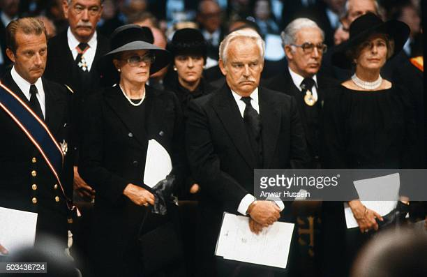 Prince Albert of Belgium Prince Rainier and Princess Grace of Monaco attend the funeral of Lord Mountbatten on September 05 1979 in London England