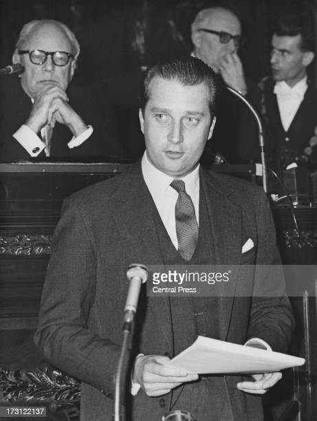 Prince Albert of Belgium talks at a meeting for Belgian Foreign Trade, Belgium, 3rd March 1964.