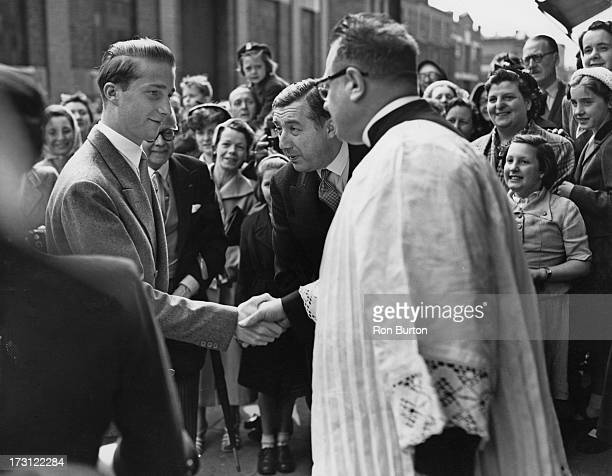 Prince Albert of Belgium who is in England for the Coronation of Queen Elizabeth II attends a church service at 'Our Lady of Hal' in Arlington Road...