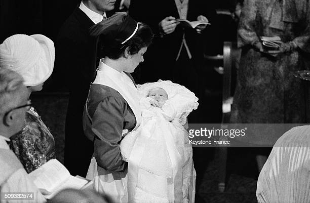 Prince Albert Of Liege And Princess Paola's Daughter Astrid Christening By Archbishop Of Mechelen And Brussels in Brussels Belgium on June 22 1962