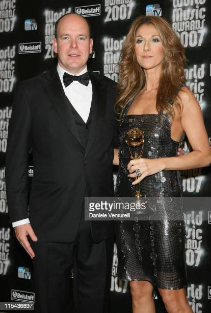 Prince Albert of Monaco and Celine Dion with her Legend award during the 2007 World Music Awards held at the Monte Carlo Sporting Club on November 4,...
