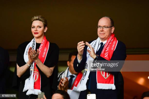 Prince Albert of Monaco and Charlene, Princess of Monaco, during the Uefa Champions League match, semi final first leg, between As Monaco and...