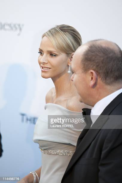Prince Albert of Monaco and Charlene Wittstock attend amfAR's Cinema Against AIDS Gala during the 64th Annual Cannes Film Festival at Hotel Du Cap on...