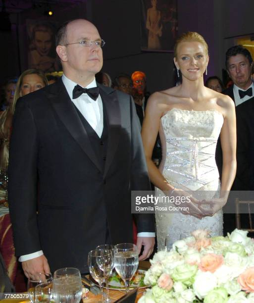 Prince Albert of Monaco and Charlene Wittstock attend the 25th Anniversary Princess Grace Awards Gala at Sotheby's on October 25th 2007 in New York...