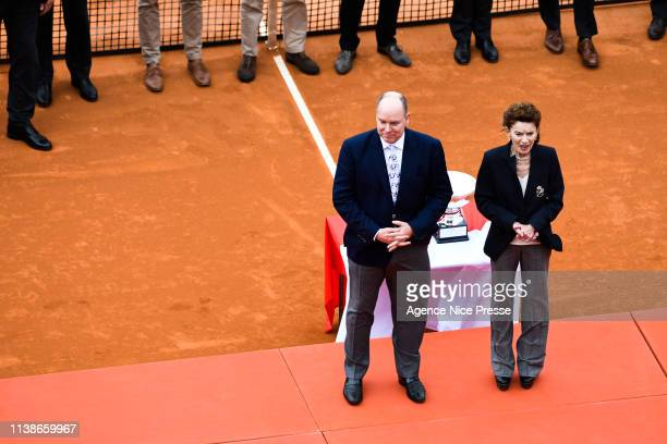 Prince Albert of Monaco and ElisabethAnne de Massy president of tennis federation of Monaco during the 2019 Monte Carlo Rolex Masters 1000 day one on...