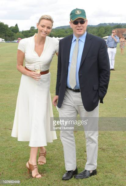 Prince Albert of Monaco and fiancee Charlene Wittstock attend the Asprey World Class Cup at Hurtwood Park Polo Club on July 17 2010 in Ewhurst England