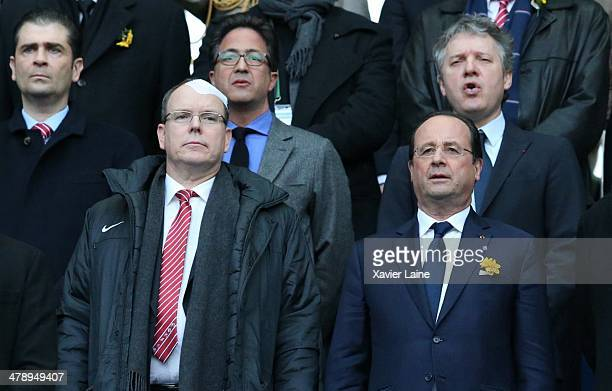Prince Albert of Monaco and French president Francois Hollande attend the RBS 6 Nations match between France and Ireland at Stade de France on march...
