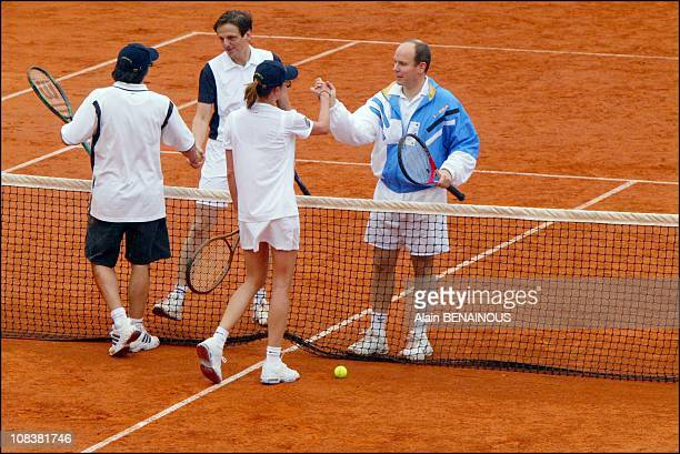 Prince Albert Of Monaco And His Friend Alexandra Kamp Participate In Tennis Tournament Of The FortySecond Film Festival Of Monaco in Monaco on July...