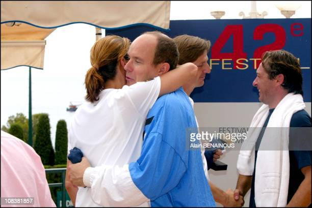 Prince Albert Of Monaco And His Friend Alexandra Kamp Participate In Tennis Tournament Of The Forty-Second Film Festival Of Monaco in Monaco on July...