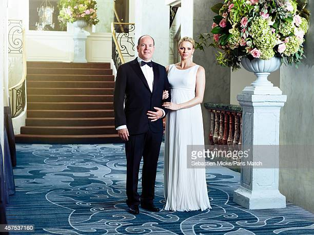 Prince Albert of Monaco and his wife Charlene who is six months pregnant are photographed for Paris Match during an evening gala for the Foundation...