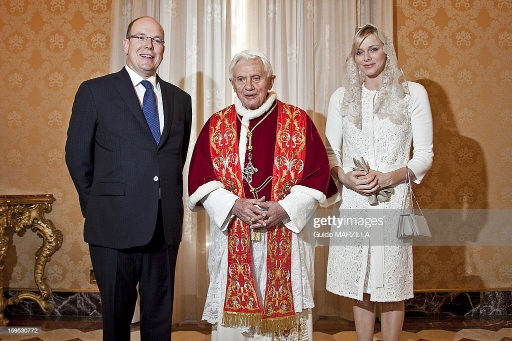 Prince Albert Of Monaco And Charlene Received By Pope Benedict XVI At The Vatican : News Photo