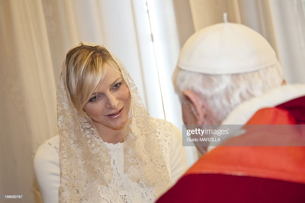 Prince Albert of Monaco and his wife princess Charlene have been received by Pope Benedict XVI during a private audience at the Vatican on January 12, 2013. Photo by 2430/Gamma