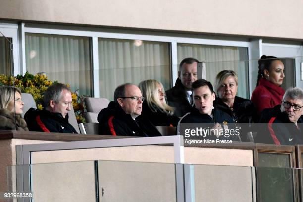 Prince Albert of Monaco and Louis Ducruet during the Ligue 1 match between AS Monaco and Lille OSC at Stade Louis II on March 16 2018 in Monaco