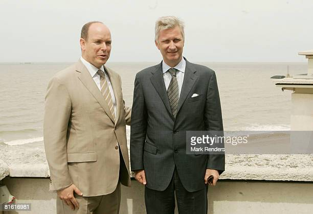 Prince Albert of Monaco and Prince Philippe of Belgium pose for a photo in front of the North Sea during Pince Albert's Stave visit on June 18 2008...