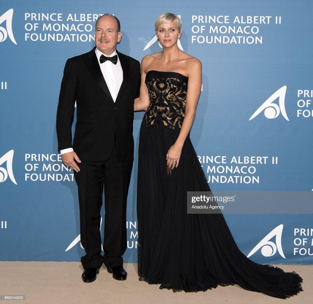 Prince Albert of Monaco and Princess Charlene of Monaco attend the inaugural 'Monte-Carlo Gala for the Global Ocean' honoring Leonardo DiCaprio (not seen) at the Monaco Garnier Opera in Monte-Carlo, Monaco on September 28, 2017.