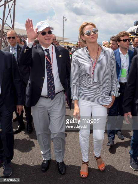 Prince Albert Of Monaco and Princess Charlene Of Monaco attend the Formula One Grand Prix of France at Circuit Paul Ricard on June 24 2018 in Le...