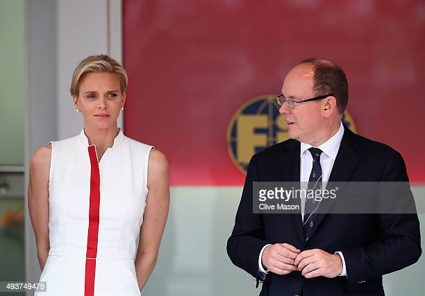 Prince Albert of Monaco and Princess Charlene of Monaco look on following the Monaco Formula One Grand Prix at Circuit de Monaco on May 25 2014 in...