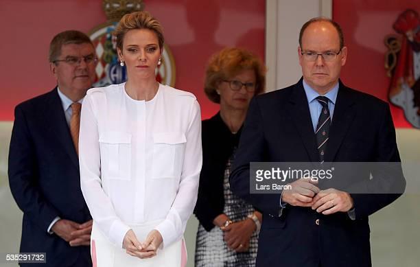 Prince Albert of Monaco and Princess Charlene of Monaco on the podium during the Monaco Formula One Grand Prix at Circuit de Monaco on May 29 2016 in...