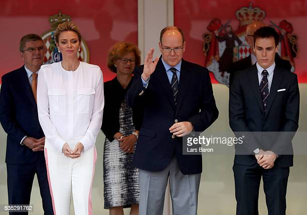 Prince Albert of Monaco and Princess Charlene of Monaco on the podium during the Monaco Formula One Grand Prix at Circuit de Monaco on May 29 2016 in...