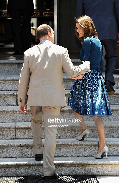 Prince Albert of Monaco and Princess Letizia of Spain at the Zarzuela Palace on June 25, 2008 in Madrid, Spain.
