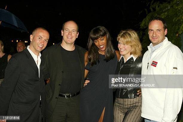 Prince Albert of Monaco at the birthday of Naomi Campbell in Saint Tropez France on May 18 2002 Naomi Campbell with Prince Albert of Monaco Thierry...