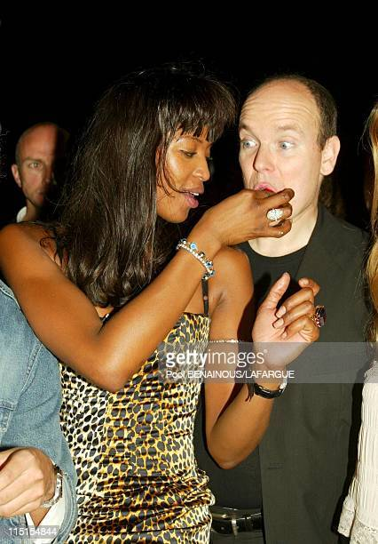 Prince Albert of Monaco at the birthday of Naomi Campbell in Saint Tropez France on May 18 2002 Naomi Campbell with Prince Albert of Monaco