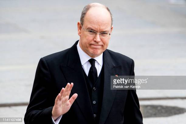 Prince Albert of Monaco attend the funeral of Grand Duke Jean of Luxembourg on May 04 2019 in Luxembourg Luxembourg