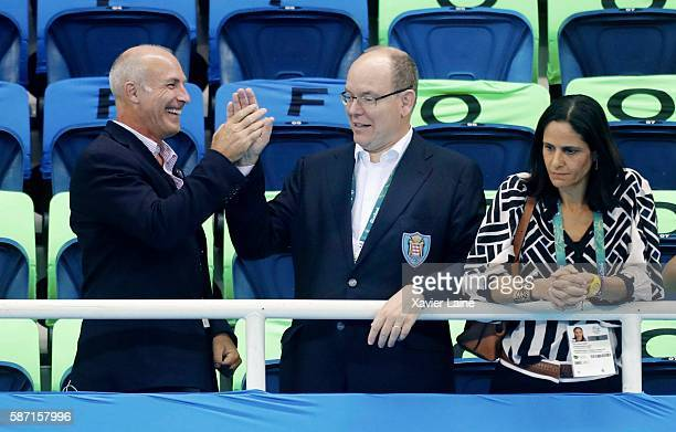 Prince Albert of Monaco attends Day 2 of the Rio 2016 Olympic Games at Olympic Aquatics Stadium on August 7 2016 in Rio de Janeiro Brazil