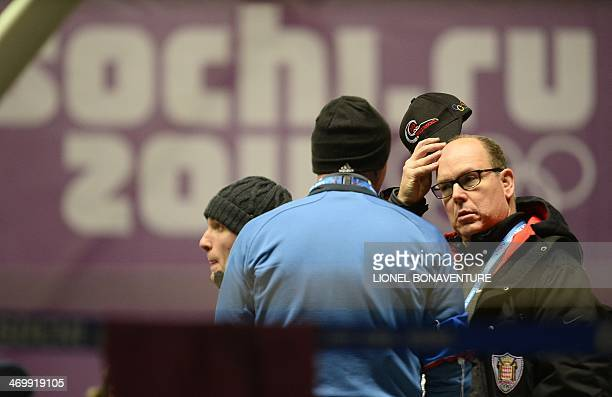 Prince Albert of Monaco attends the Bobsleigh Twoman Heat 3 at the Sliding Center Sanki during the Sochi Winter Olympics on February 17 2014 AFP...