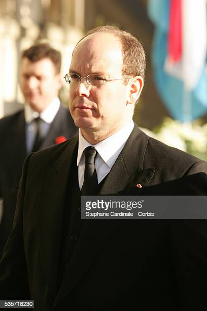 HSH Prince Albert of Monaco attends the funeral of Grand Duchess of Luxembourg JosephineCharlotte daughter of former Belgian King Leopold III and...