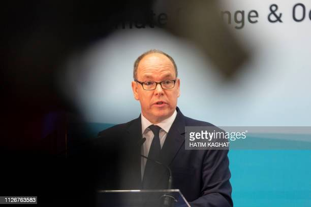 Prince Albert of Monaco delivers a speech at a conference on climate change and the state of the oceans organised by minister Marghem Tuesday 19...