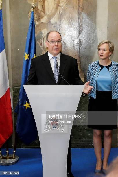 Prince Albert of Monaco delivers a speech next to Bordeaux Deputy Mayor Virginie Calmels at the city hall of Bordeaux on July 5 2017 / AFP PHOTO /...