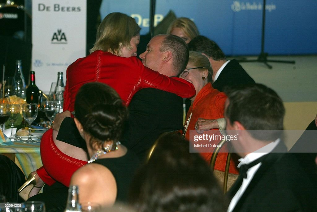 Prince Albert of Monaco is seen attending the AMFAR party with Sharon Stone in Cannes in 2002, France. The Prince's father, Prince Rainier III, died on April 6, 2005 at the age of 81. Albert, 47, is next in line to the throne to take over as Monaco's ruler as Prince Albert 2d.