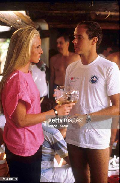 Prince Albert of Monaco is seen attending the Monaco St Tropez off Shore race with Geraldine Danon in St Tropez in 1990 France With the deteriorating...