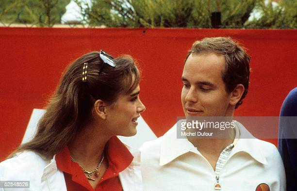 Prince Albert of Monaco is seen attending the Pro Celebrity Tourrnament with actress Brooke Shields in 1979 in Monaco With the deteriorating health...