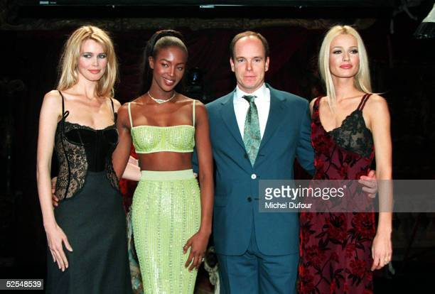 Prince Albert of Monaco is seen with Claudia Schiffer, Naomi Campbell and Karen Mulder in 1996 in Paris, France. With the deteriorating health of his...