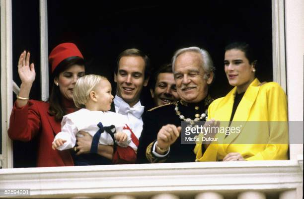 Prince Albert of Monaco is seen with his family sisters Princess Caroline and Princess Stephanie and their father Prince Rainier III during the...
