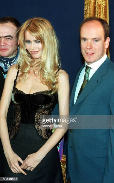 Prince Albert of Monaco is seen with model Claudia Schiffer and designer Lacroix in Paris in 1996 France With the deteriorating health of his father...