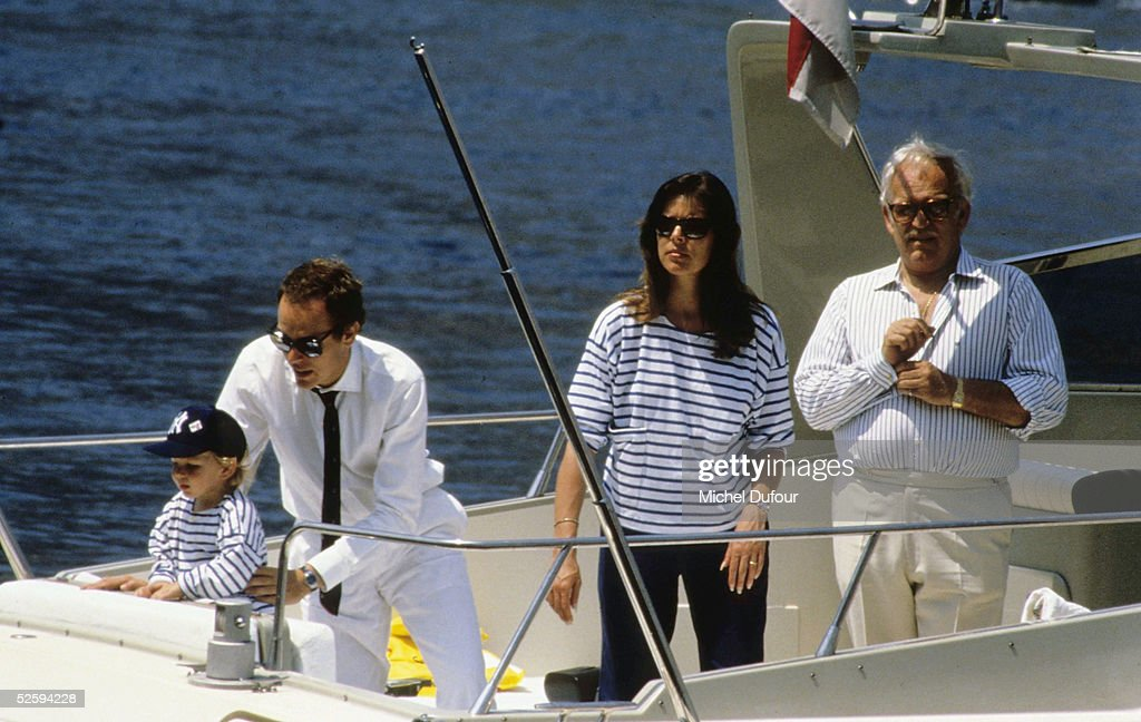 Prince Albert of Monaco is seen with Princesse Caroline, Prince Rainier and Andrea, at Monaco in 1990. Prince Rainier III, died on April 6, 2005 at the age of 81. Albert, 47, is next in line to the throne to take over as Monaco's ruler as Prince Albert 2d.