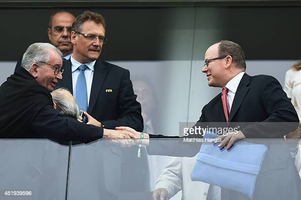 Prince Albert of Monaco looks on during the 2014 FIFA World Cup Brazil Semi Final match between the Netherlands and Argentina at Arena de Sao Paulo...