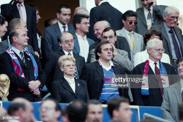 Prince Albert of Monaco Noel Le Graet Manuel Valls Jacques Chirac Michel Platini Lionel Jospin during the Soccer World Cup Final between Brazil and...
