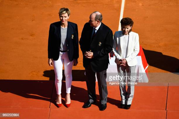 Prince Albert of Monaco Princess Charlene and ElisabethAnne de Massy president of Monaco tennis federation and Kei Nishikori of Japan during the...