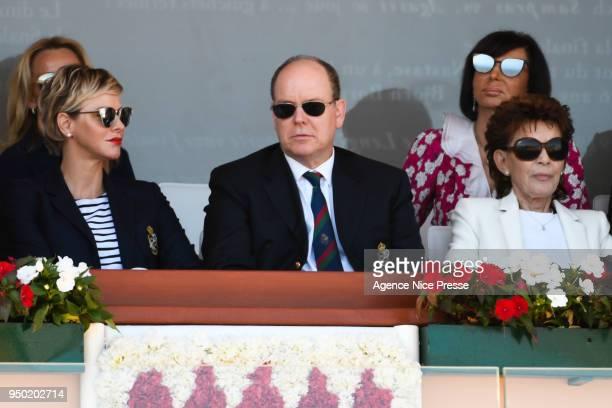 Prince Albert of Monaco, Princess Charlene and Elisabeth-Anne de Massy, president of Monaco tennis federation during the Monte Carlo Rolex Masters...