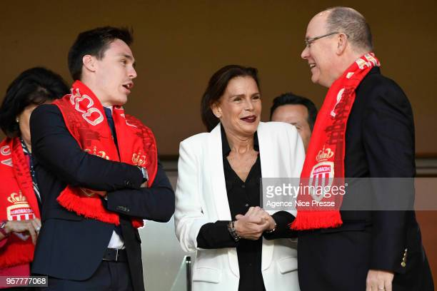 Prince Albert of Monaco Princess Stephanie and Louis Ducruet during the Ligue 1 match between AS Monaco and AS Saint Etienne at Stade Louis II on May...