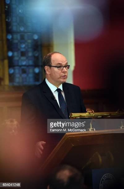 Prince Albert Of Monaco speaks during his visit to The Oxford Union on February 6 2017 in Oxford England