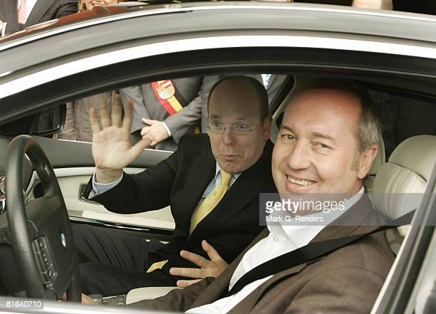 Prince Albert of Monaco tries out a new BMW at Francorchamps on June 19 2008 in Liege Belgium