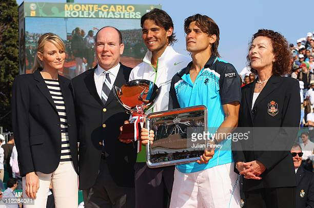 Prince Albert of Monaco with fiancee Charlene Wittstock with Rafael Nadal of Spain and David Ferrer of Spain and President of the tournament...