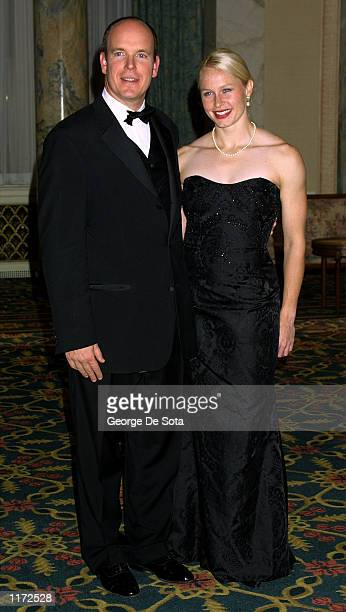 Prince Albert of Monaco with his friend Alicia Warlick attend the Princess Grace Foundation awards October 22 2001 at the Waldolf Astoria hotel in...